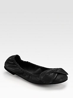 See by Chloe - Leather Zipper-Trimmed Bow Ballet Flats