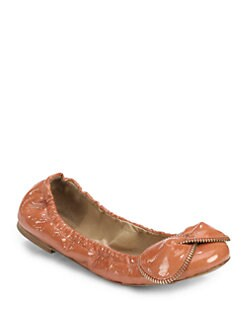 See by Chloe - Patent Leather Zipper-Trimmed Bow Ballet Flats