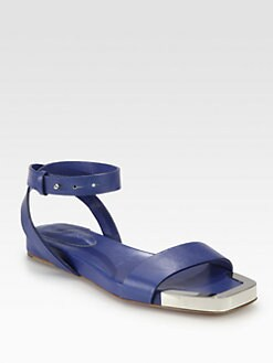 See by Chloe - Leather Ankle Strap & Metal-Detail Sandals
