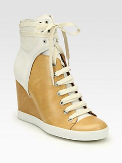 See by Chloe - Bicolor Leather Lace-Up Wedge Sneakers