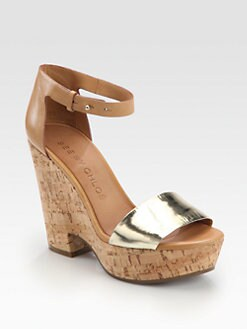 See by Chloe - Metallic Leather Cork Wedge Sandals