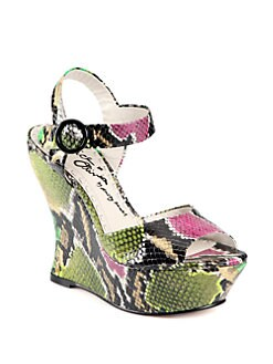 Alice + Olivia - Jana Lizard-Print Leather Wedge Sandals