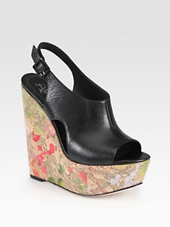 Alice + Olivia - Sonia Leather Paint Splatter Cork Wedges