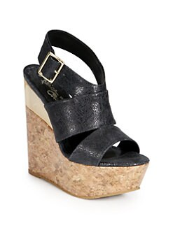 Alice + Olivia - Steffie Leather Cork Wedge Sandals