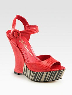 Alice + Olivia - Dania Lizard-Print Leather Wedge Sandals