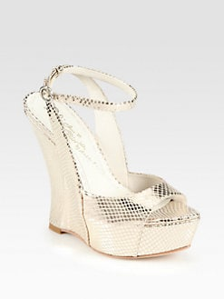 Alice + Olivia - Denny Lizard-Print Metallic Leather Wedge Sandals