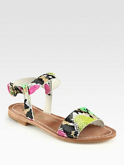 Alice + Olivia - Bella Snake-Print Leather Sandals