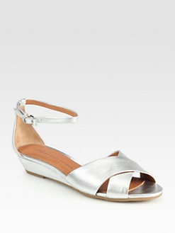 Marc by Marc Jacobs - Metallic Leather Crisscross Wedge Sandals