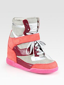 Marc by Marc Jacobs - Suede and Leather Wedge Sneakers