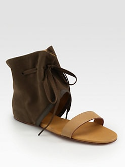 See by Chloe - Suede & Leather Open-Toe Ankle Boots