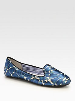 Charles Philip Shanghai - Yasmine Wings-Print Satin Smoking Slippers