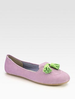 Charles Philip Shanghai - Sylvie Bicolor Suede Tassel Smoking Slippers