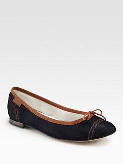 Repetto - BB Denim Bow Ballet Flats