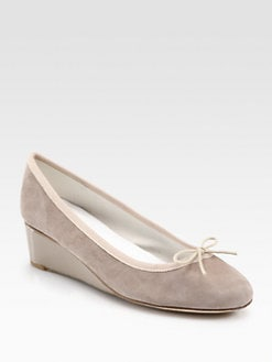 Repetto - Norma Suede & Patent Leather Wedge Pumps