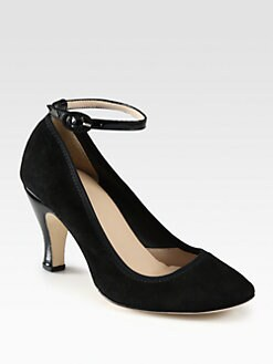 Repetto - Seville Suede & Patent Leather Ankle Strap Pumps