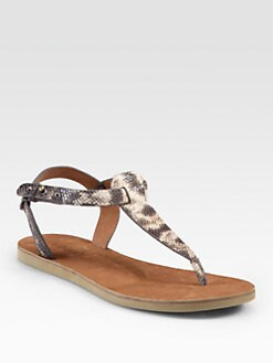 Vince - Maia Snake-Print Leather Thong Sandals
