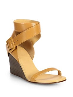 MM6 Maison Martin Margiela - Leather Ankle Wrap Wedge Sandals