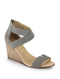 Maison Martin Margiela MM6 - Suede Crisscross Wedge Sandals