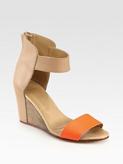 Maison Martin Margiela MM6 - Bicolor Leather Ankle Strap Wedge Sandals