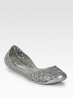 Melissa - Melissa Campana Zig Zag Glitter Jelly Ballet Flats