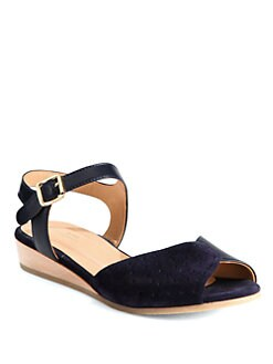 A.P.C. - Suede & Leather Wedge Sandals