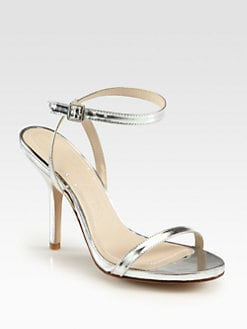 Elizabeth and James - Toni Metallic Leather Ankle Strap Sandals
