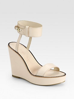 Elizabeth and James - Brit Leather Ankle Strap Wedge Sandals
