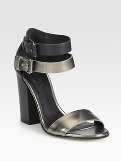 Vince - Lana Metallic Leather Ankle Strap Sandals