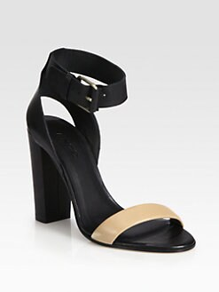 Vince - Alexa Bicolor Leather Ankle Strap Sandals
