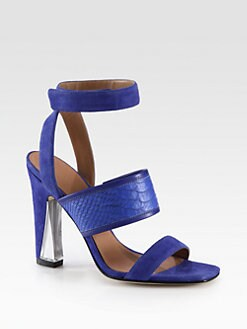Sigerson Morrison - Cam Suede & Snake-Print Leather Sandals