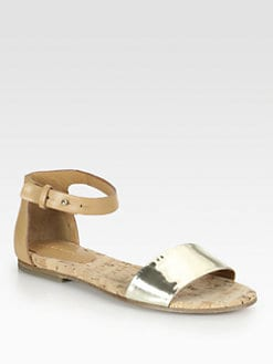 See by Chloe - Metallic Leather Ankle Strap Sandals