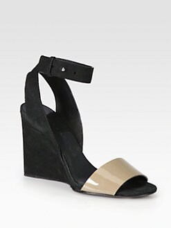 See by Chloe - Bicolor Patent Leather & Suede Wedge Sandals