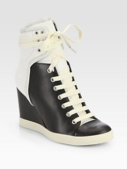 See by Chloe - Leather High-Top Wedge Sneakers