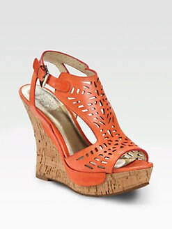 Belle by Sigerson Morrison - Babita Leather Cork Wedge Sandals