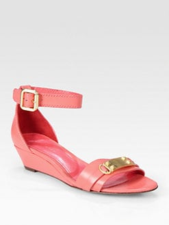 Elie Tahari - Gemma Leather Ankle Strap Wedge Sandals