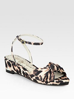 Alice + Olivia - Alexi Leopard-Print Canvas Wedge Sandals