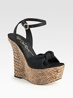 Alice + Olivia - Ilise Canvas & Snake-Print Leather Wedge Sandals