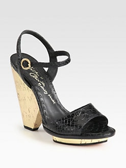 Alice + Olivia - Franca Snake-Print Leather Cork Sandals
