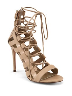 Aquazzura - Amazon Leather Lace-Up Sandals