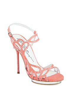 Alice + Olivia - Pheobe Lizard-Embossed Leather Platform Sandals