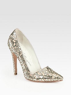 Alice + Olivia - Dina Metallic Leather Cutout Pumps