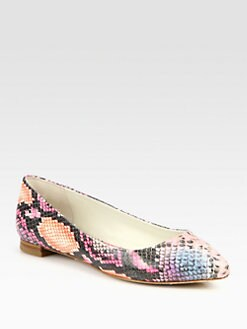 Alice + Olivia - Hudson Snake-Embossed Leather Ballet Flats