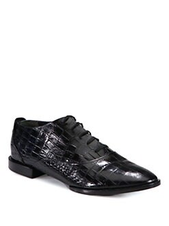 Alexander Wang - Ingrid Crocodile-Print Leather Lace-Up Oxfords