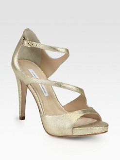 Diane von Furstenberg - Juliette Metallic Leather Sandals