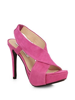 Diane von Furstenberg - Zia Suede Crisscross Platform Sandals