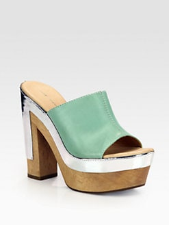 Diane von Furstenberg - Romea Leather & Wooden Platform Sandals