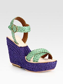 Diane von Furstenberg - Origenes Woven Leather Espadrille Wedges