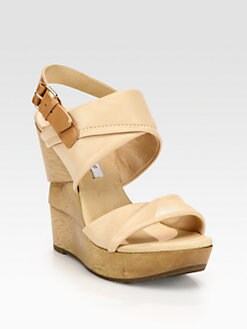 Diane von Furstenberg - Ophelia Leather Wooden Wedge Sandals
