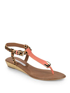 Diane von Furstenberg - Dion Leopard-Print Calf Hair & Leather Thong Sandals