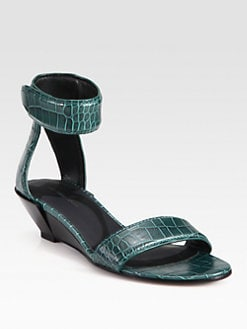 Alexander Wang - Vika Crocodile-Print Leather Wedge Sandals